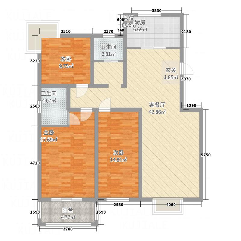 汇泽国际城147.23㎡D户型3室2厅2卫1厨