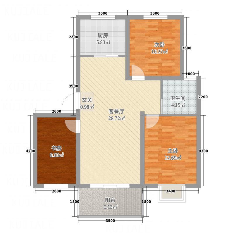 西城锦湖36.12㎡户型3室2厅1卫1厨
