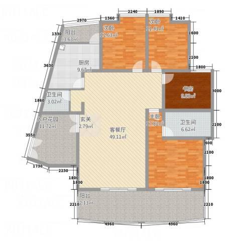 安江名园4室1厅2卫1厨177.00㎡户型图