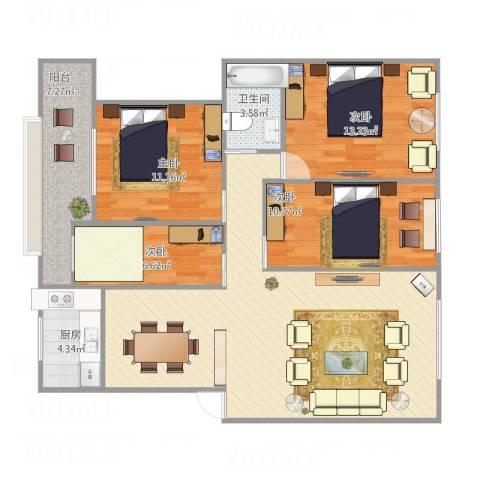 天元大厦4室1厅1卫1厨126.00㎡户型图