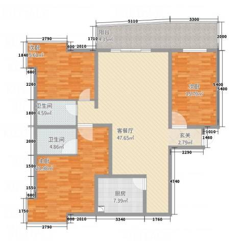 安江名园3室1厅2卫1厨163.00㎡户型图