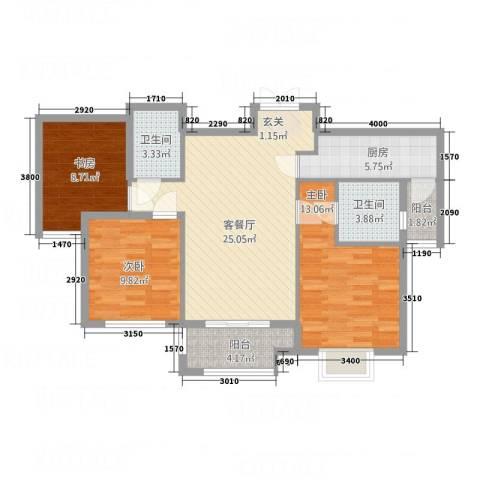 乐活城市3室1厅2卫1厨32218.00㎡户型图