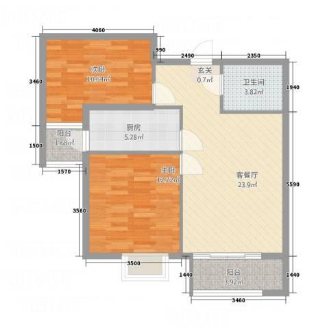 乐活城市2室1厅1卫1厨22188.00㎡户型图