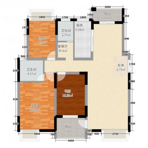 伴山御�3室1厅2卫1厨125.00㎡户型图