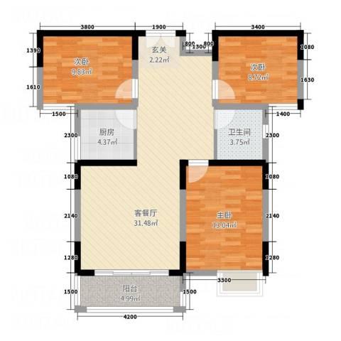 伴山御�3室1厅1卫1厨76.17㎡户型图