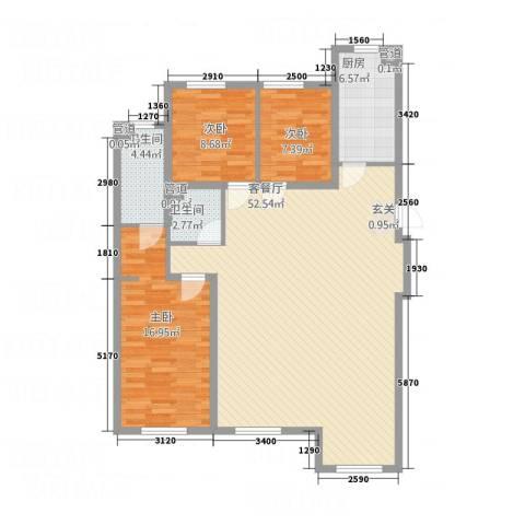 兴源・蓝海左岸3室1厅2卫1厨99.56㎡户型图