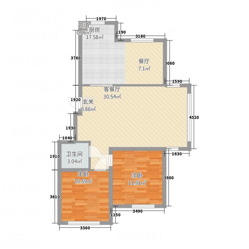 兴源・蓝海左岸E91户型2室2厅1卫1厨