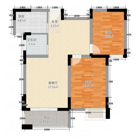 伴山御�2室1厅1卫1厨85.00㎡户型图