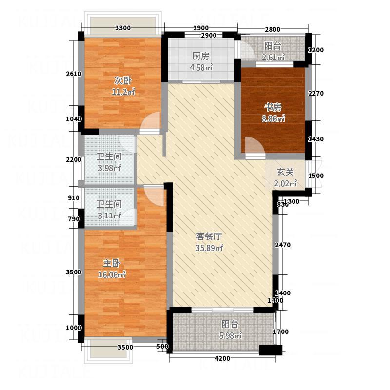 伴山御�12.62㎡D1户型3室2厅2卫1厨