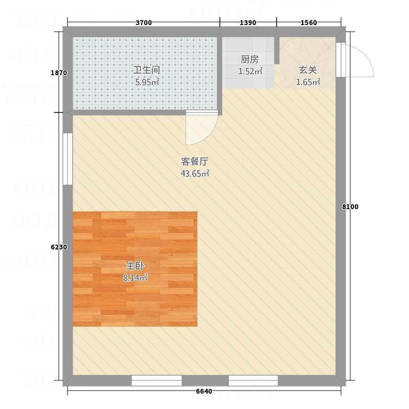 香雪Village65.50㎡A2户型1室2厅1卫1厨
