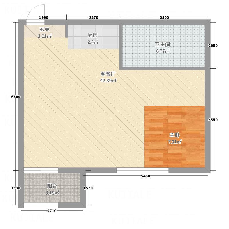 香雪Village73.00㎡C3户型1室2厅1卫1厨