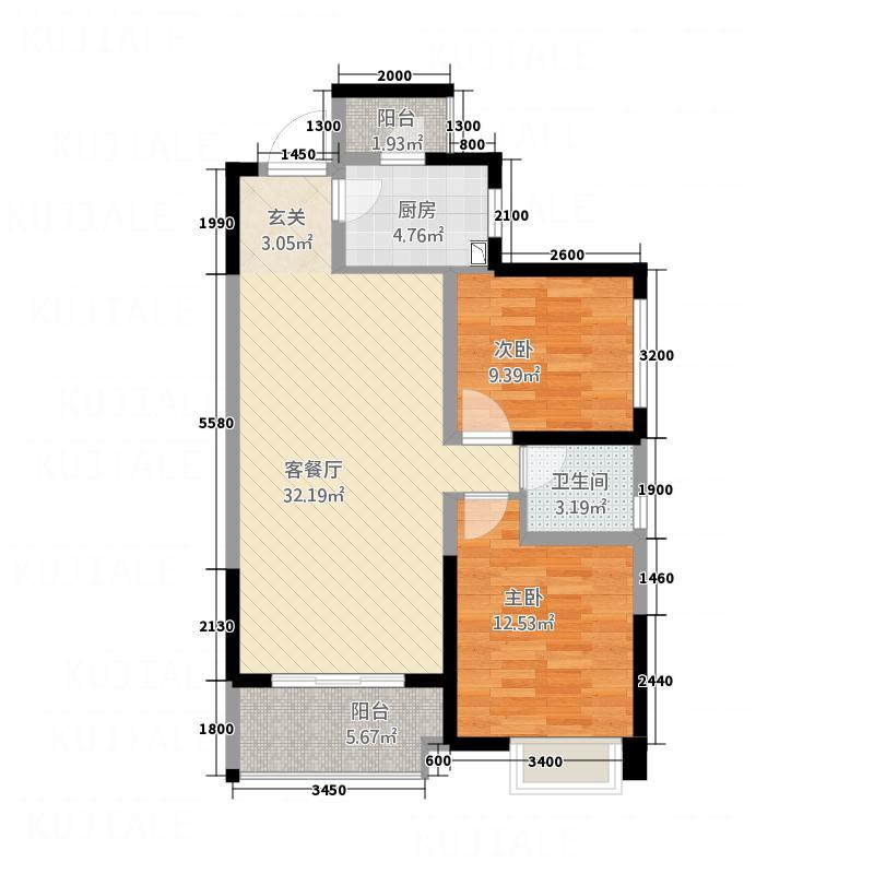 天悦湾112218.14㎡A户型2室2厅1卫