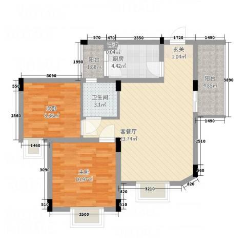德建华庭2室1厅1卫1厨83.00㎡户型图