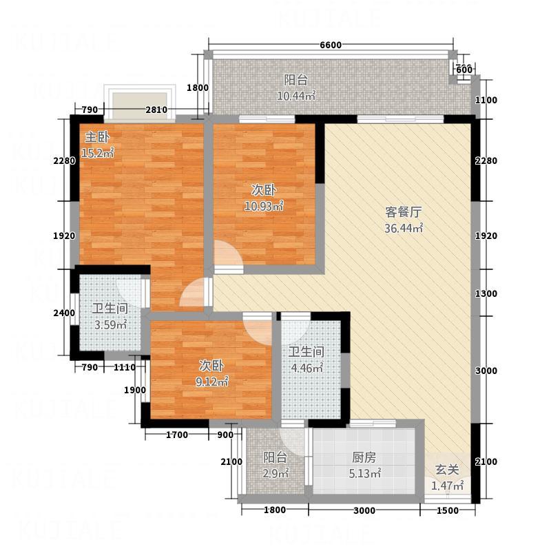 宏利・凯旋城125.65㎡T6户型3室2厅1卫1厨
