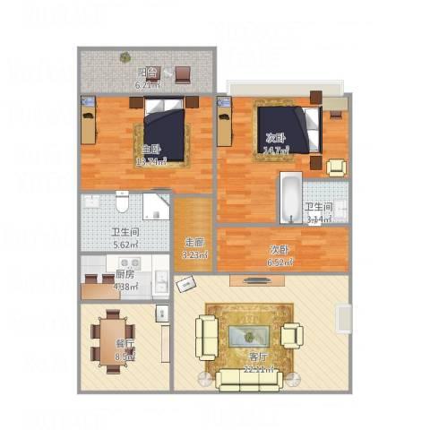 华师高校教师村3室2厅2卫1厨95.48㎡户型图