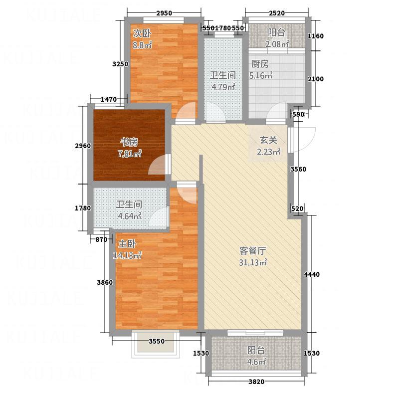 铭泰・瑞云佳苑12.00㎡户型3室2厅2卫1厨