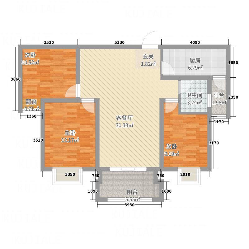 铭泰・瑞云佳苑115.00㎡户型3室2厅2卫1厨