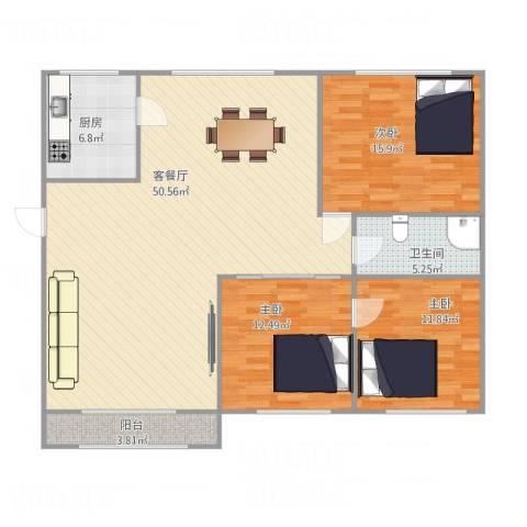 良运花园3室1厅1卫1厨142.00㎡户型图