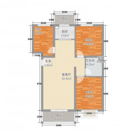 奥林第一城3室1厅1卫1厨77.95㎡户型图