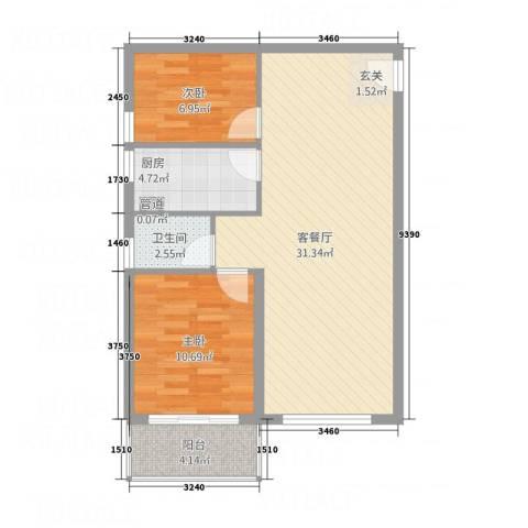 都市心海岸2室1厅1卫1厨85.00㎡户型图