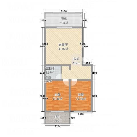 上善水苑2室1厅1卫1厨76.38㎡户型图