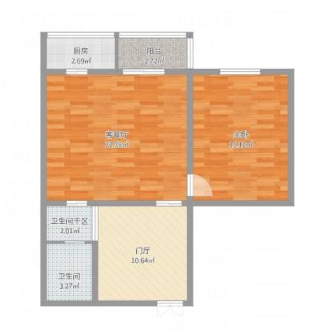 金田花园6-37-2111室1厅1卫1厨83.00㎡户型图