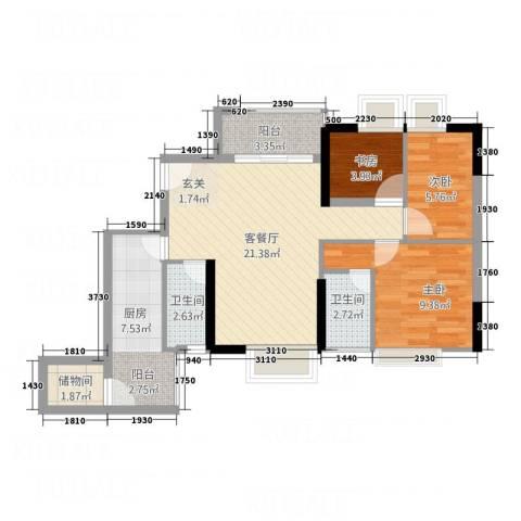 东华居3室1厅2卫1厨85.00㎡户型图