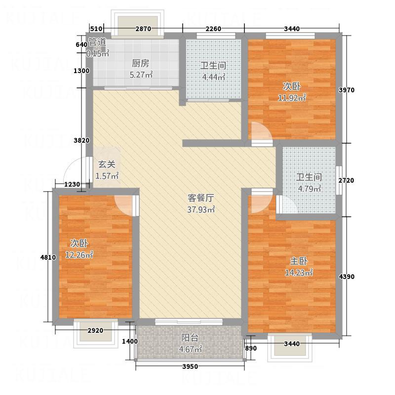 汇泽国际城136.46㎡C户型3室2厅2卫1厨