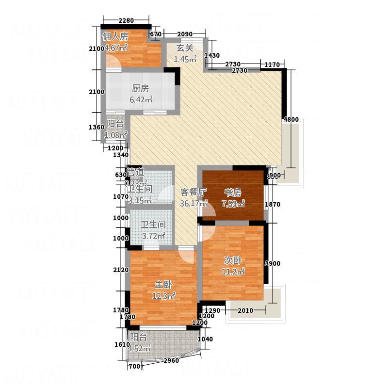 江山多娇123.00㎡K3型户型3室2厅2卫1厨