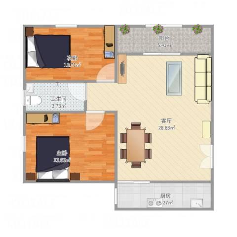 富达花园2室2厅1卫南68平方2室1厅1卫1厨91.00㎡户型图