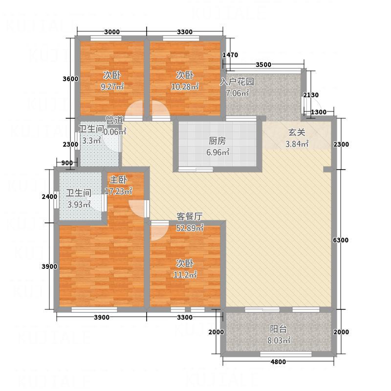 江山多娇142.30㎡花园洋房G3型户型4室2厅2卫1厨