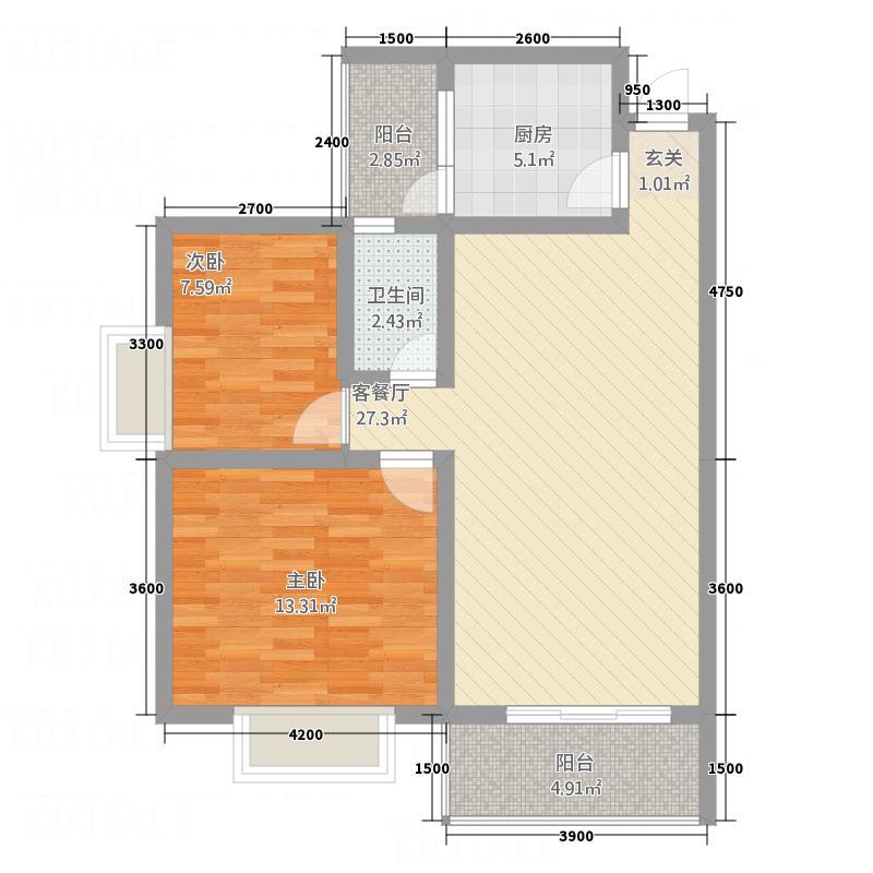 金龙美景76.38㎡B户型2室2厅1卫1厨