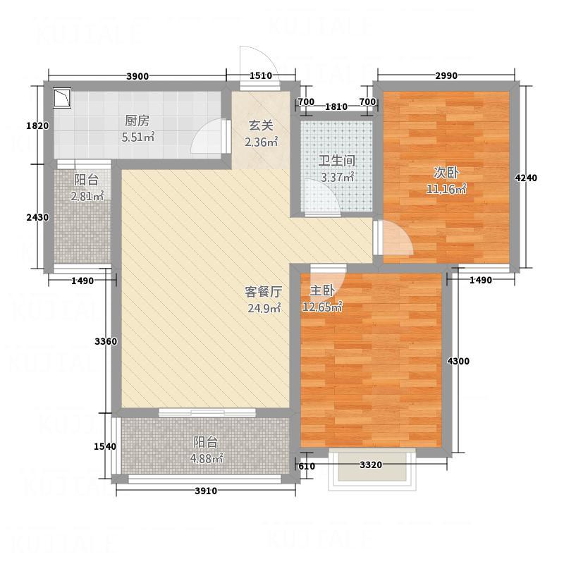 博雅庄园F1户型2室2厅1卫