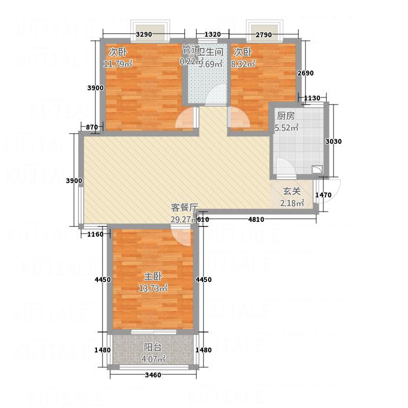 博雅庄园17.50㎡C1户型3室2厅1卫