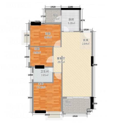 天和豪庭3室1厅1卫1厨74.81㎡户型图