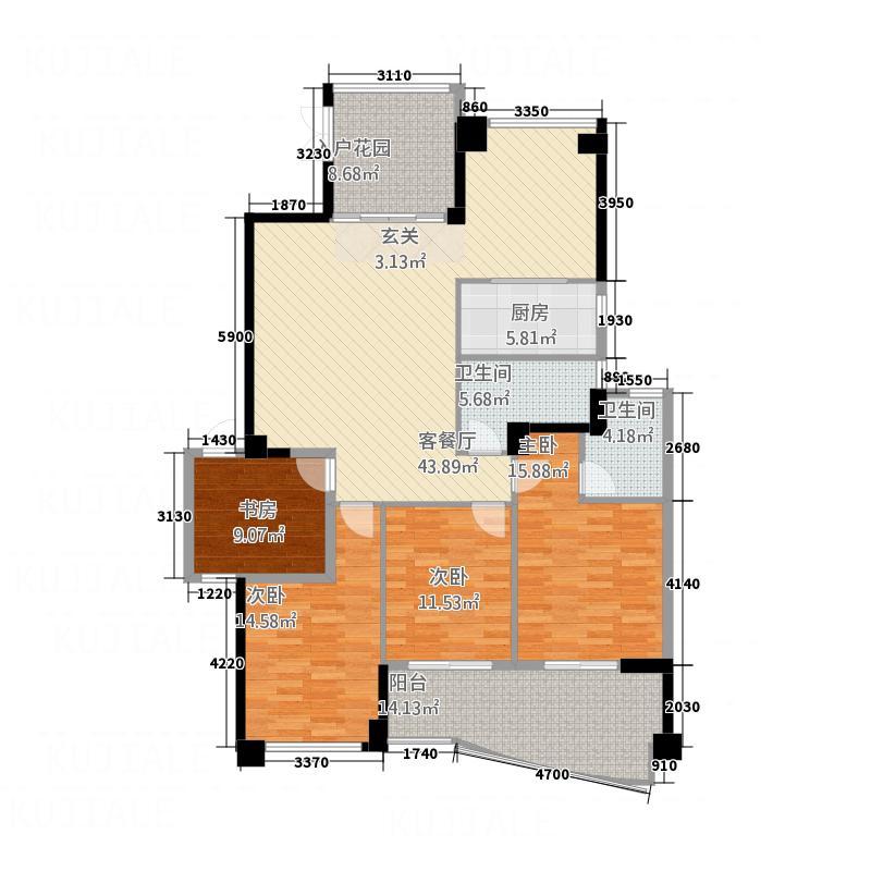 宝信城市广场148148.20㎡户型4室2厅2卫1厨