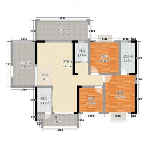 万和乐华花园3室1厅2卫1厨107.67㎡户型图