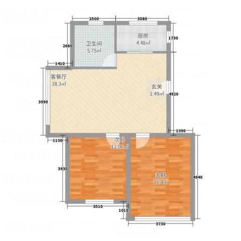 辽阳鑫德雅居2室1厅1卫1厨66.99㎡户型图