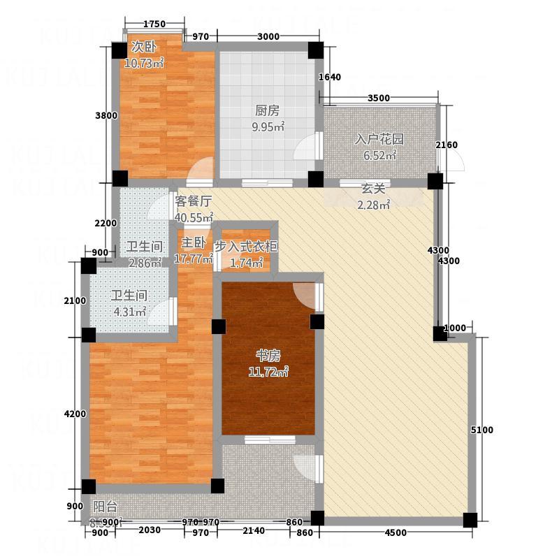 江山多娇13.40㎡叠拼别墅F2型户型3室2厅2卫1厨