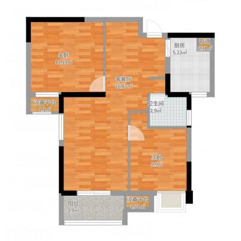 王家湾中央生活区2室1厅1卫1厨92.00㎡户型图