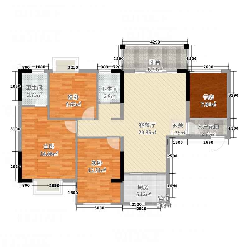 碧江阅132114.67㎡A1户型3室2厅2卫1厨