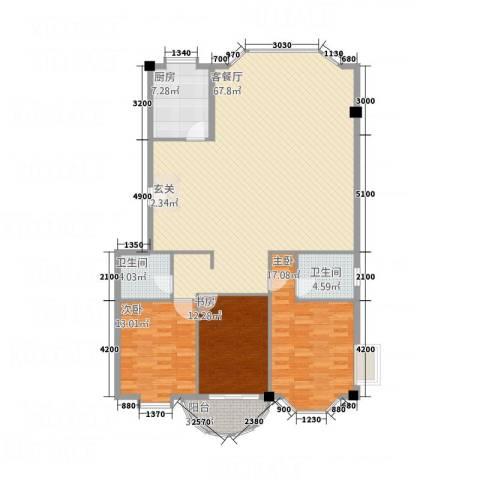 家景花园 华景苑3室1厅2卫1厨130.05㎡户型图