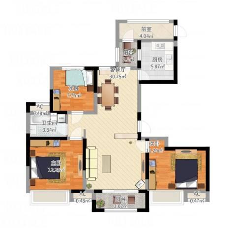 绿地中央广场3室1厅1卫1厨122.00㎡户型图