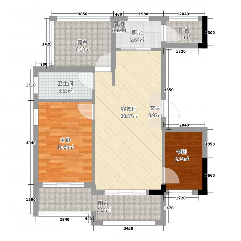 林城―兰乔圣菲3.56㎡兰乔圣菲6户型2室2厅1卫