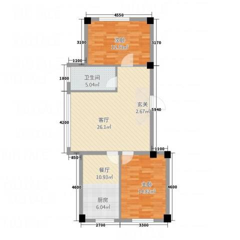 清风竹阁2室2厅1卫0厨88.00㎡户型图