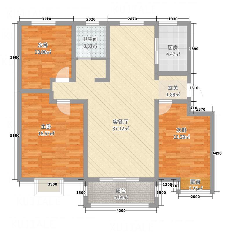 �水御园113.00㎡B6户型3室2厅1卫1厨