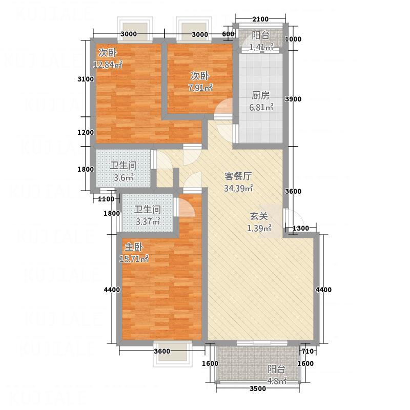 翔海大厦户型3室2厅1卫1厨