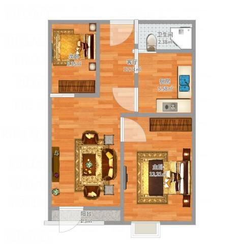 奕人花园2室1厅1卫1厨62.00㎡户型图
