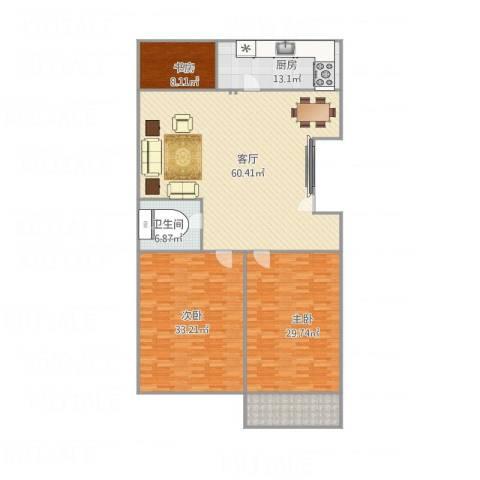 君逸左岸3室1厅1卫1厨208.00㎡户型图