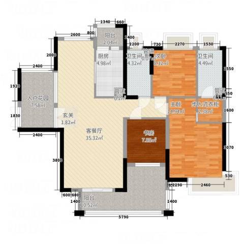 金谷花园3室1厅2卫1厨147.00㎡户型图